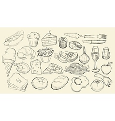 Drawn Food Collection vector image