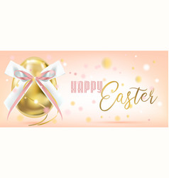 easter golden egg with silk bow in confetti vector image