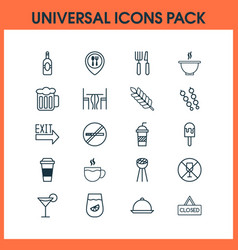 Eating icons set with platter food mapping bowl vector