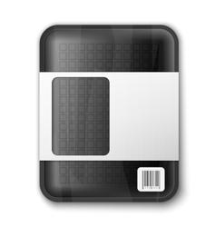 Empty black food tray vector