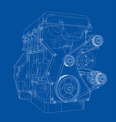 Engine sketch rendering of 3d vector