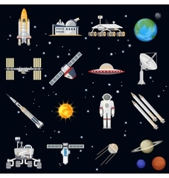 Exploring space technology flat icon set vector