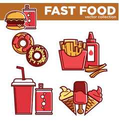 fast food collection with drinks and meals vector image