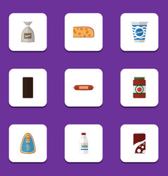 Flat icon food set of sack yogurt cheddar slice vector