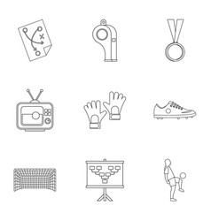 football briefing icons set outline style vector image