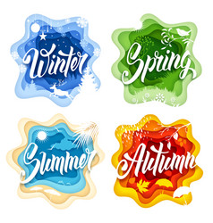 Four seasons paper art vector