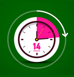 fourteen 14 minutes analog stopwatch clock icon vector image