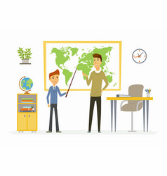 geography lesson at school - modern cartoon people vector image