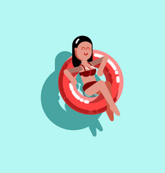 Girl chilling in pool with inflatable ring vector