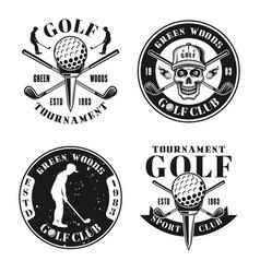 golf four monochrome vintage emblems vector image