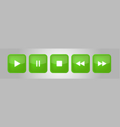 green white square music control buttons set vector image