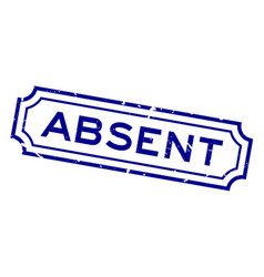 Grunge blue absent word rubber business seal vector