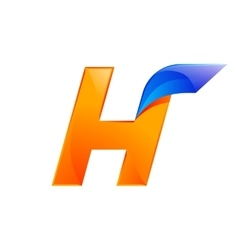 H letter blue and Orange logo design Fast speed vector image