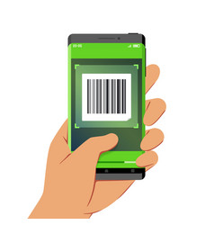 hand holding smartphone with barcode scanner vector image