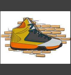 high sneakers orange-yellow lacing on the vector image