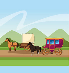 Horses classics carriage over landscape background vector