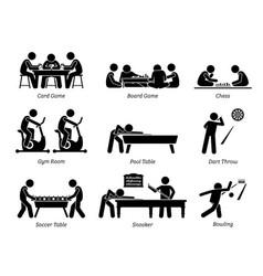 Indoor club games and recreational activities vector