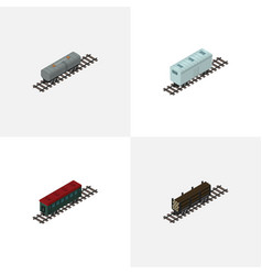 Isometric railway set of lumber shipping subway vector