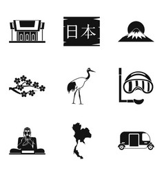 Japanese history icons set simple style vector