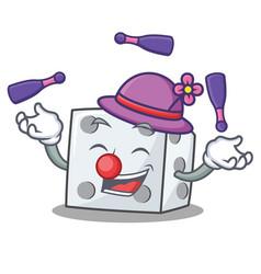 Juggling dice character cartoon style vector