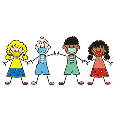 kids mask friendship vector image