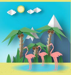 Landscape with pink flamingo vector