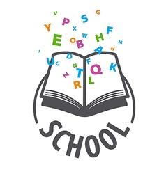 Logo open book and flying multicolored letters vector
