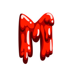 M letter of sweet fruit jelly glossy edible vector