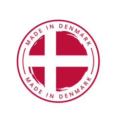 made in denmark round label vector image
