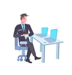 Male security guard worker looking laptop screen vector