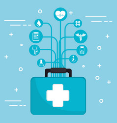 medical kit with medical healthcare icons vector image