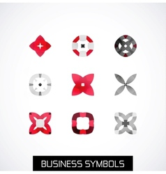 Modern abstract geometric business icons Icon set vector image