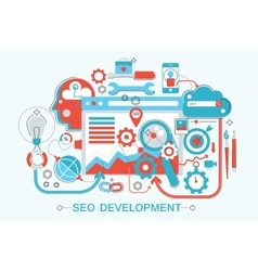 Modern Flat thin Line design SEO and development vector image