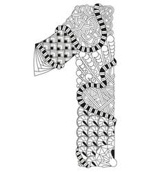 number one zentangle decorative number vector image
