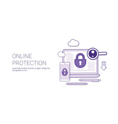 online protection web security technology concept vector image