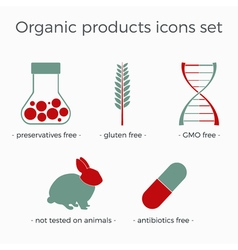 Organic products icons set vector
