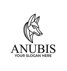 Outline anubis logo design idea vector