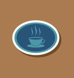 Paper sticker on stylish background logo coffee vector
