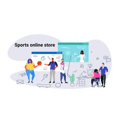 people doing online shopping sports store concept vector image