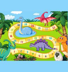prehistoric dinosaurs boardgame scene vector image