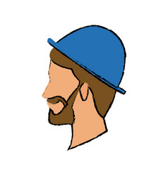 profile bearded man young wear blue hat character vector image
