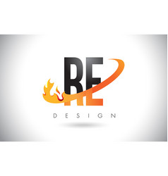 Re r e letter logo with fire flames design and vector