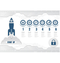 rocket launch startup digital technology and vector image