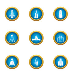 Rocket projectile icons set flat style vector