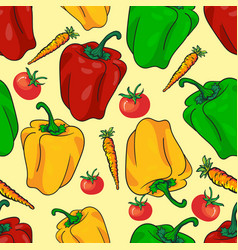 seamless pattern vegetables with peppers vector image