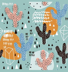 Seamless pattern with cactuses and hand drawn vector