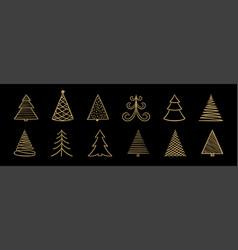 set hand drawn sketch golden christmas tree vector image