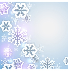 Shining christmas background with paper snow vector