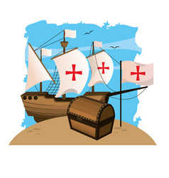 Ship sails cross with chest and flag cross vector