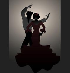Silhouettes of spanish couple flamenco dancers vector